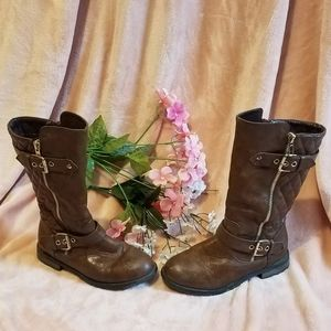 LINK faux brown leather knee boots w/two zippers